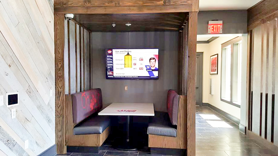 Custom Cafe Booths with Reclaimed Barn Wood accent wall.jpg