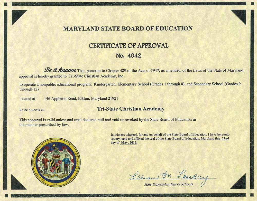 Maryland State Approved Nonpublic School Tri State