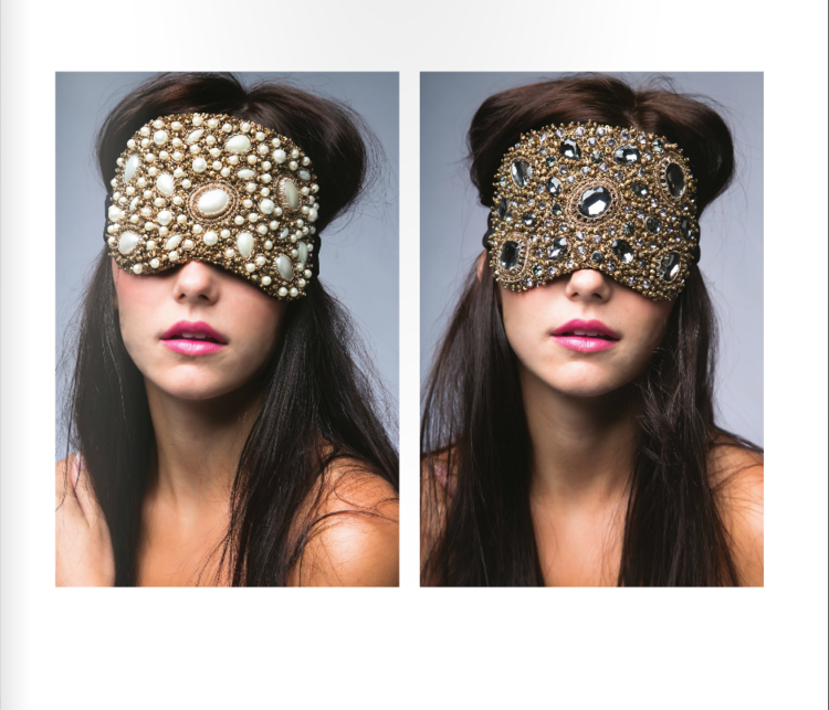 SHUT EYE - Sleeping Masks are a natural way to help us get to sleep faster and stay asleep.  This vanity eye mask, made by Azeeza, is hand embellished with Swarovski crystals and semi-precious stones.  Get some beauty sleep in style!