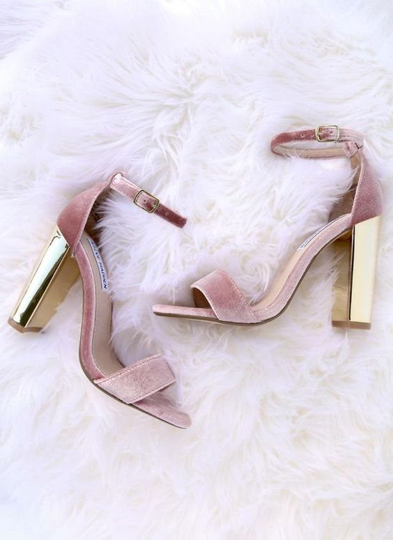 PINK HEELS - Velvet with gold heels--these should be our Holiday go-tos for every festive get-together!  Always pretty in pink!