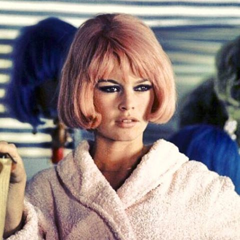 PINK STRANDS - The gorgeous Brigitte Bardot, in the 1967 movie, Two Weeks in September, make a visit to the hair salon, for a bob and dye, quite desirable!