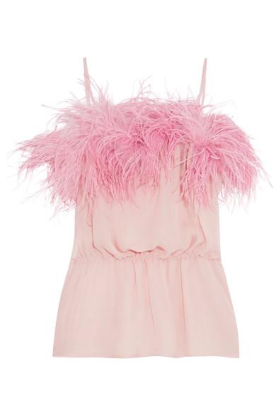 PRADA Feather-trimmed crinkled silk-chiffon camisole.jpg
