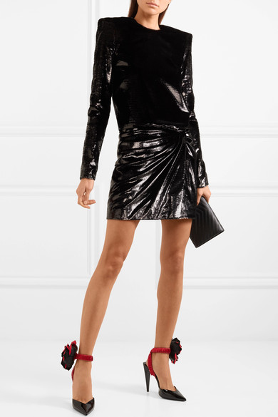 SAINT LAURENT Gathered stretch-velvet lamé mini dress.jpg