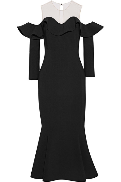 OSCAR DE LA RENTA Tulle-paneled wool-blend midi dress.jpg