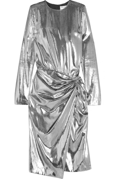 SAINT LAURENT Gathered metallic velvet midi dress.jpg