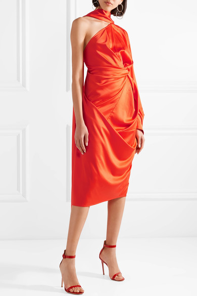 SOLACE LONDON Sorina draped asymmetric satin-crepe dress.jpg