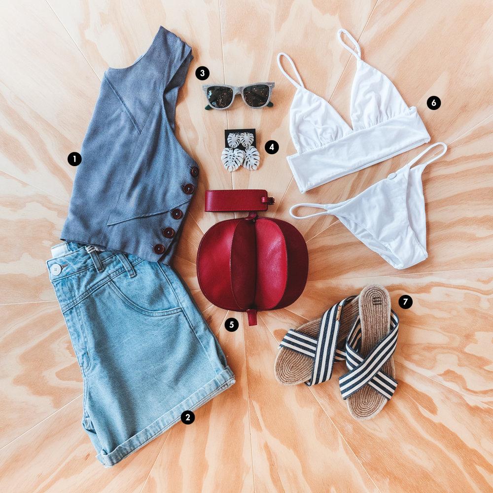 1. Blusa da Iara Wisnik; 2. Shorts da MyFots; 3.Óculos de sol da Vanilla Eyewear; 4. Brincos da Bossa 374; 5. Bolsa da Artéria; 6. Lingerie da Cisô; 7. Sandália da Kasulo