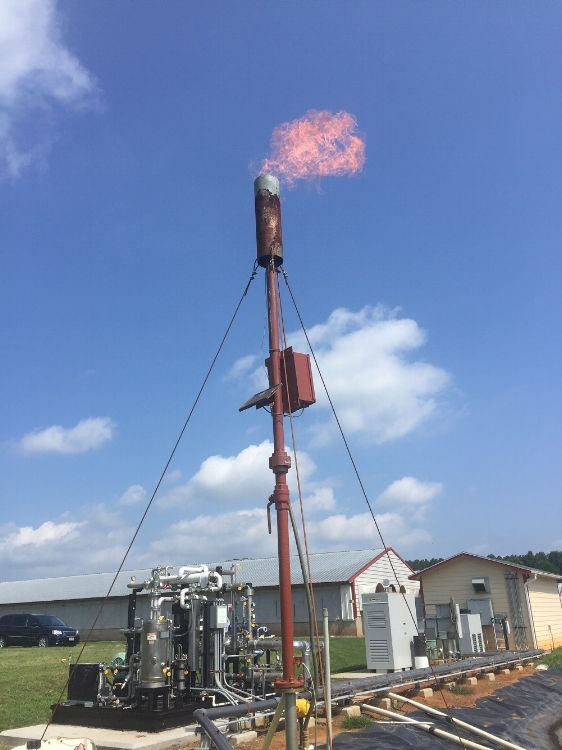 Flaring of methane gas collected at the project site.