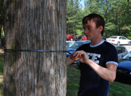 Tree measurement of diameter at breast height (DBH) are taken to calculate carbon sequestration rates for Duke's Urban Forestry Program.