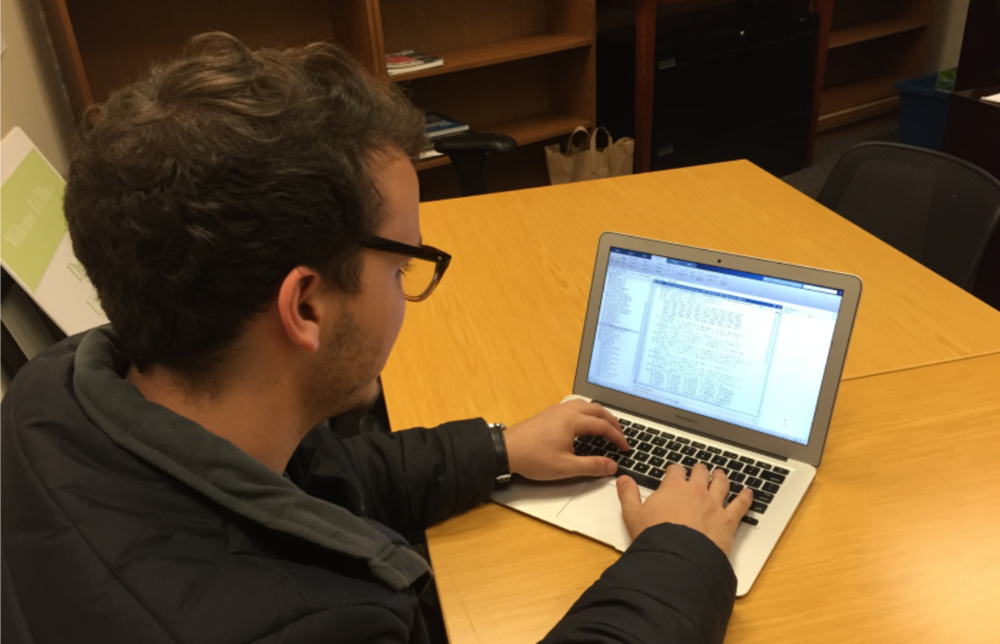 Student at Duke University completes a portion of the carbon accounting required for an energy efficiency project.