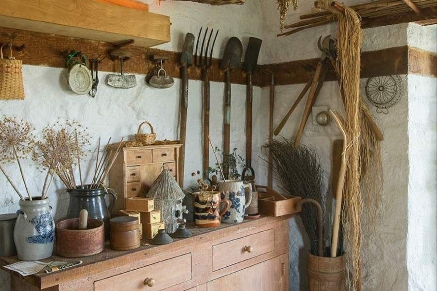 The Honey House still stores Bunny's original gardening tools, alongside those of Oak Spring's current gardeners.