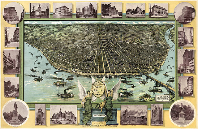 An illustrated map by F. Graf entitled  Saint Louis in 1896,  Wikimedia Commons