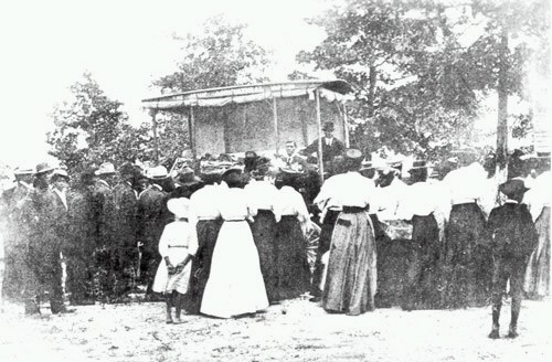 Carver's Jessup Wagon being used to give field demonstrations. Photo is courtesy of Tuskegee University Archives and the National Archives and Records Administration.