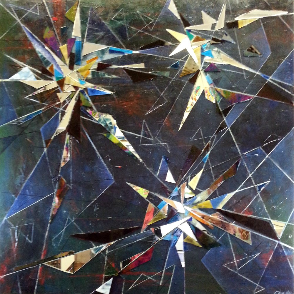 "Chain of Command,  Acrylic, glass, mirror on canvas, 36""x36"""