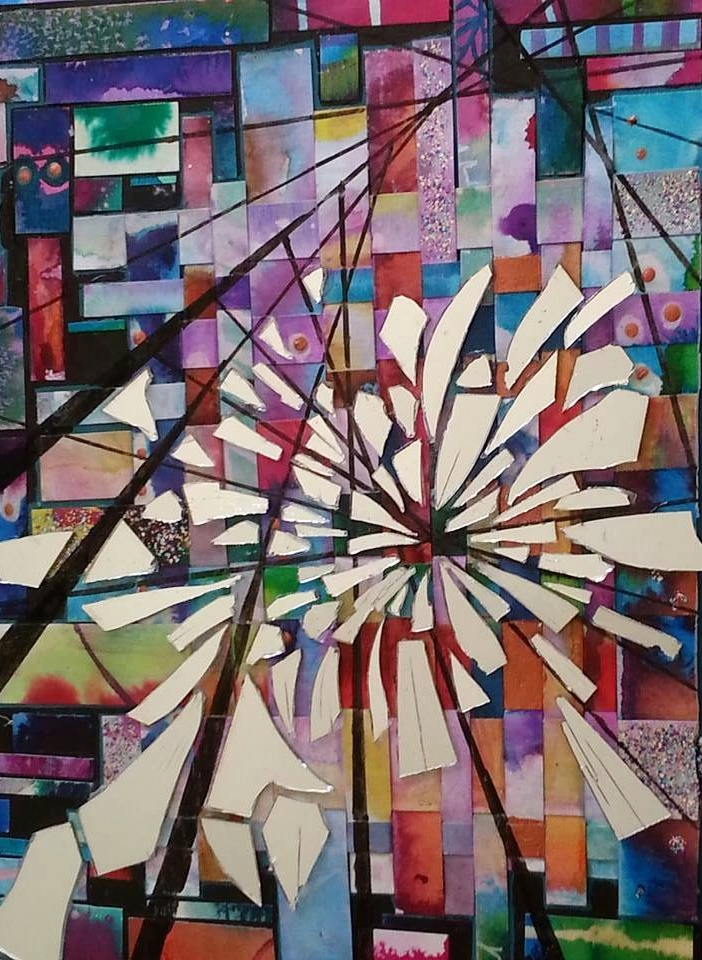 "Shattered , Acrylic, glass, paper, watercolor on canvas, 14""x11"", Sold"