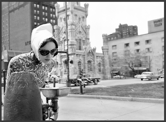 Lady at Water Fountain c.1960 from original 4x5 negative