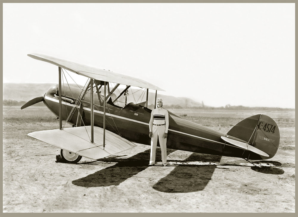 Ken Maynard with Biplane c. 1925 from original 8x10 negative