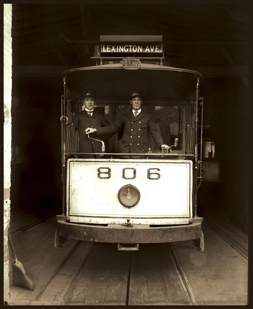 Lexington Ave Trolley c.1910 from original 5x7 glass plate negative