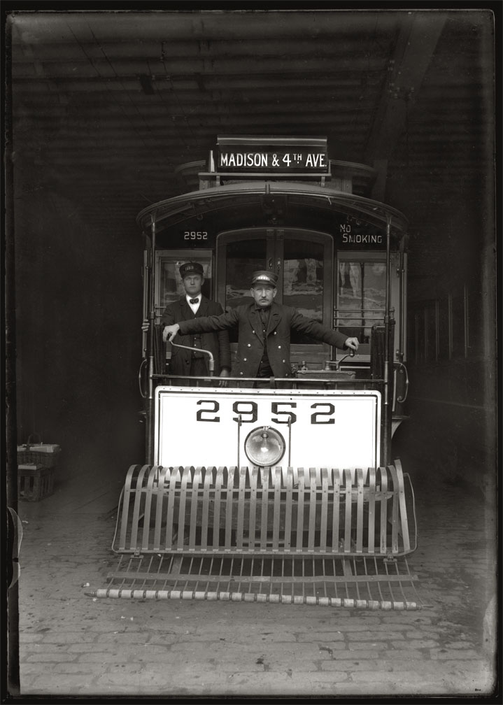 Madison & 4th ave Trolley c.1910 from original glass plate negative