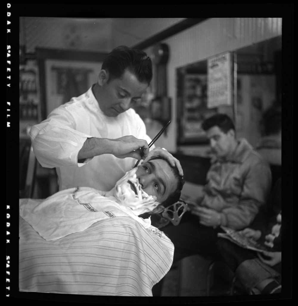 Rocky Marciano getting a shave c.1952 from original 2.25 negative