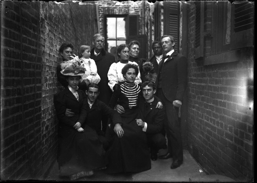 Alley People c.1910 from original 5x7 glass plate negative