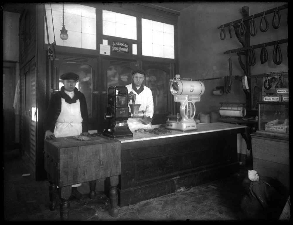 Butcher Shop c.1920 from original 4x5 glass plate negative