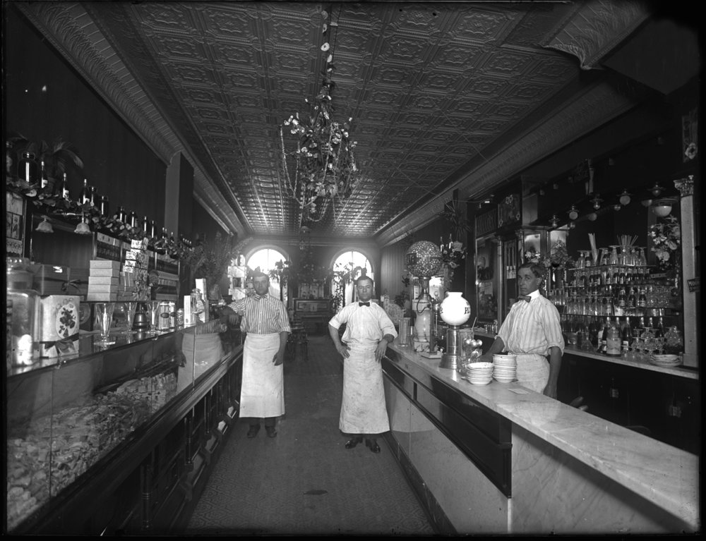 Ice Cream Parlor c.1920 from original 5x7 glass plate negative