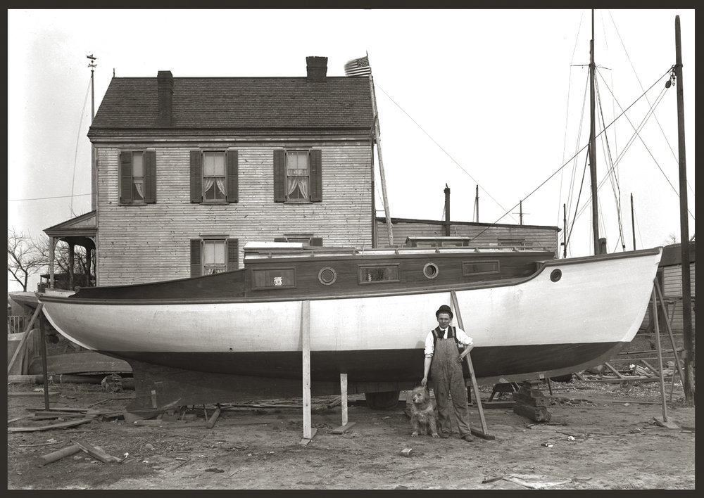 Man with Dog & Boat c.1912 from original 5x7 glass plate negative