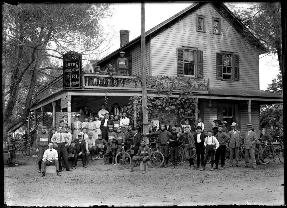 Bike Race c.1910 from original 5x7 glass plate negative