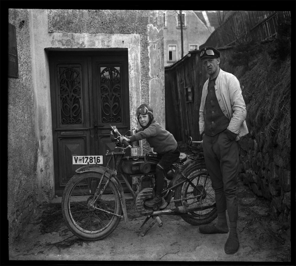 Son on Cycle c.1930 from original 4x5 glass plate negative
