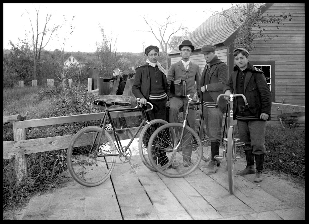 3 Cyclists and an Aristocrat c.1910 from original 5x7 glass plate negative
