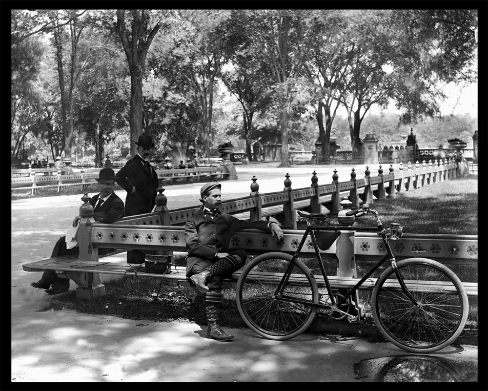 Bike in Central Parkc.1900 from original 4x5 glass plate negative