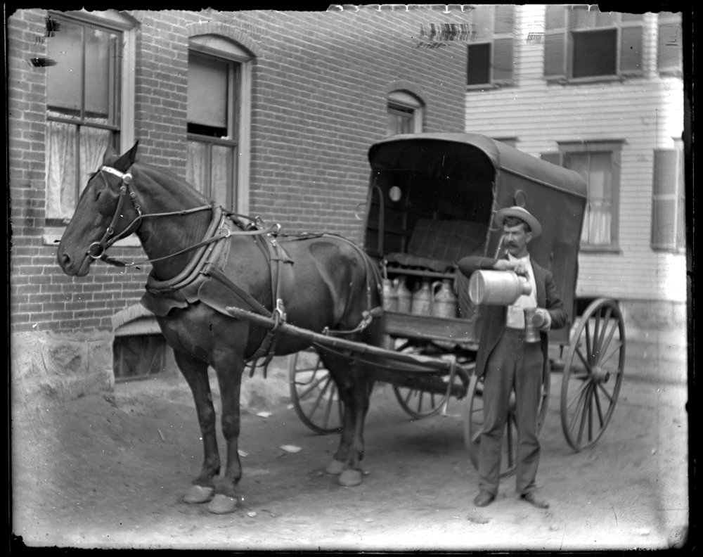 Milk Man c.1915 from original 4x5 glass plate negative