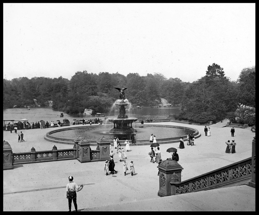 Central Park Bethesda Fountain c.1915 from original 4x5 glass plate negative
