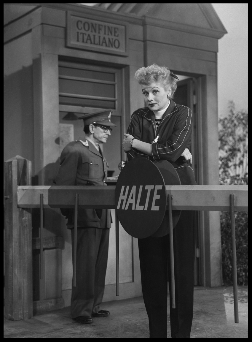 Lucille Ball Stuck at Italian Border, I Love Lucy Show c.1956 from original 4x5 negative