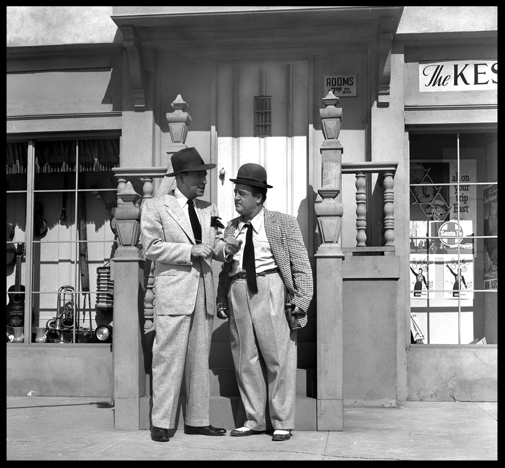 Abbott & Costello in front of stoop from the Abbott & Costello c.1952 from original 2.25 negative