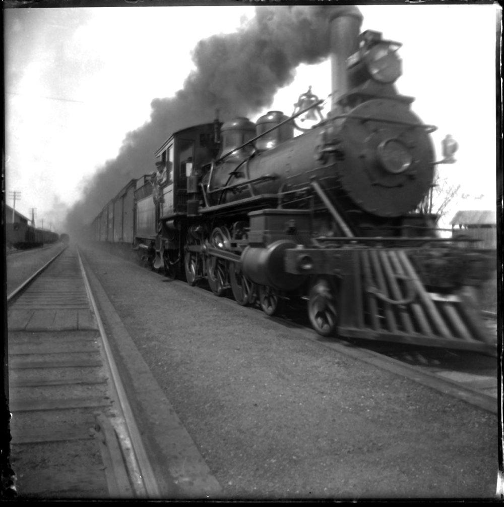 Locomotive with Smoke c.1920 from original 4x5 glass plate negative
