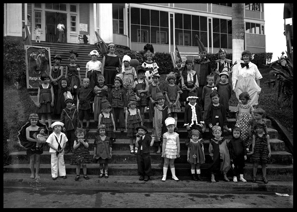 Halloween Kids c.1915 from original 5x7 glass plate negative
