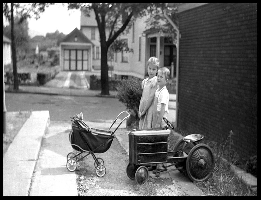 Kids in Driveway c.1930 from original 4x5 negative