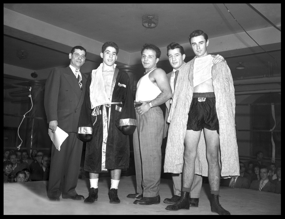 """The Raging Bulls"" center Jake LaMotta,middle right Rocky Graziano , middle left Joey LaMotta c.1948 from original 4x5 negative"