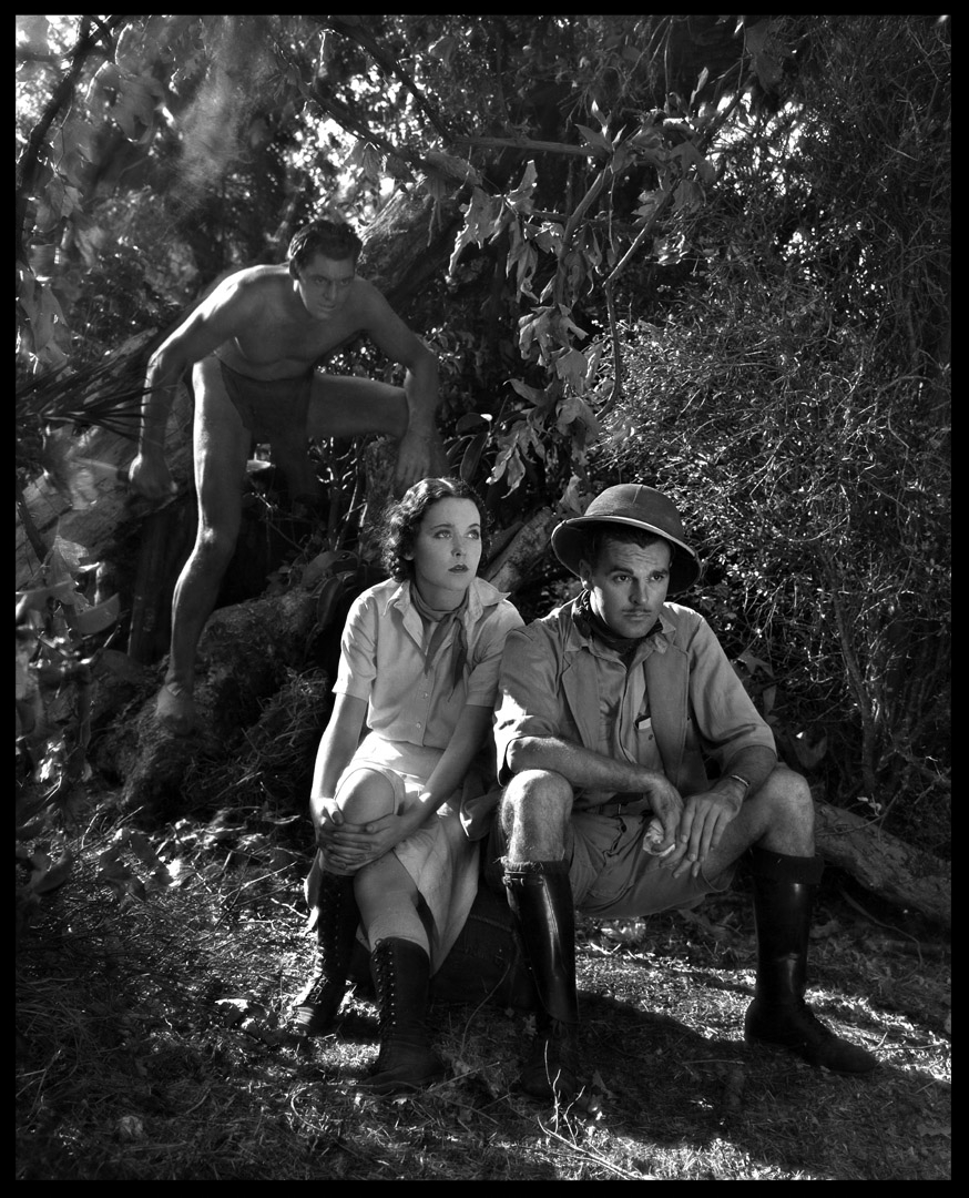 Johnny Weissmuller as Tarzan the Ape Man with Maureen O'Sullivan & Neil Hamilton c.1932 from original 8x10 negative