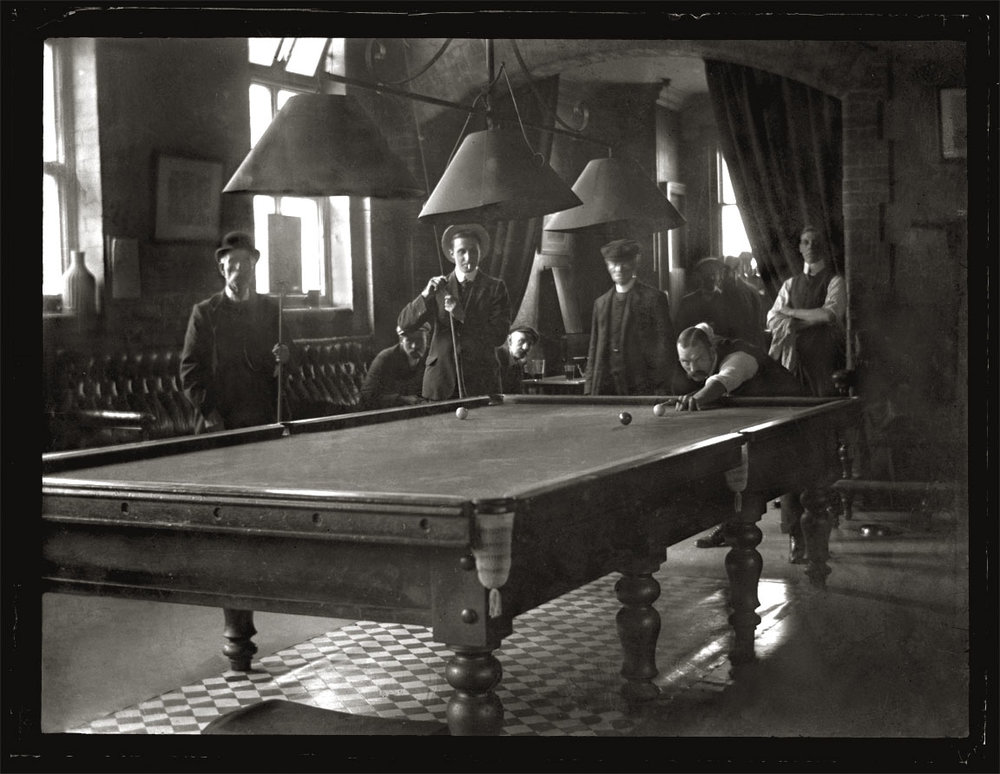 Snooker Ball Billards c.1910 from original 4x5 glass plate negative