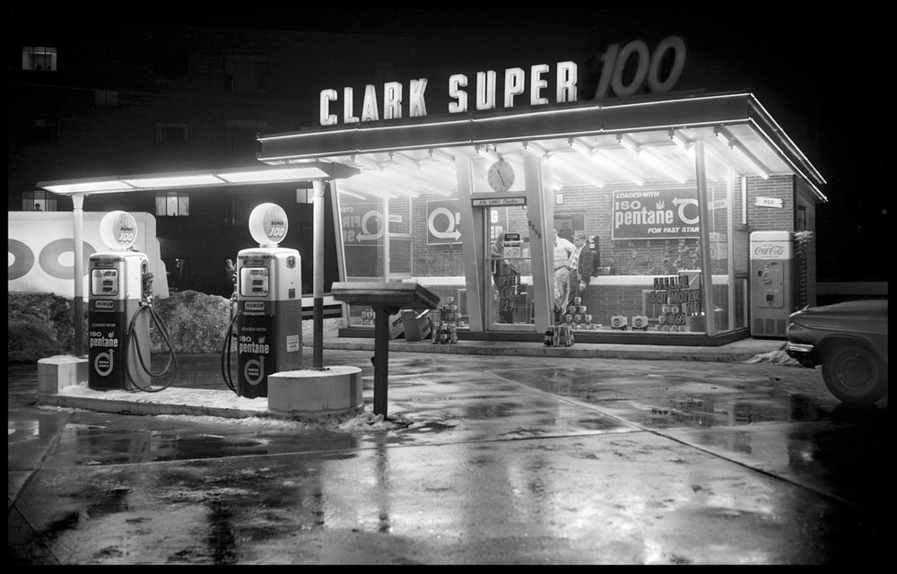 Clark Super 100 Gas Station c.1955 from original 4x5 negative