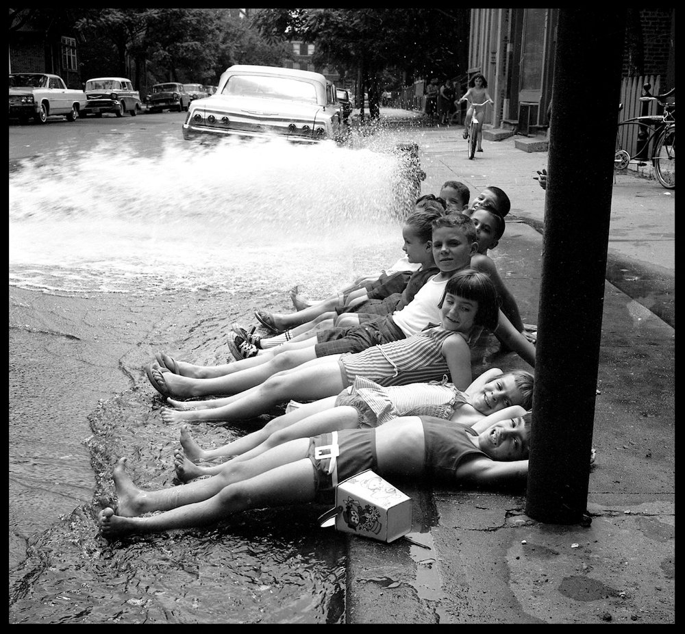 Kids Cooling Off at Johnny Pump ( Fire Hydrant ) c.1960 from original 4x5 negative