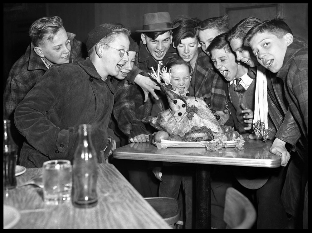 Boys at Thanksgiving Table with Turkey and Coco Cola Bottles c.1945 from original 4x5 negative
