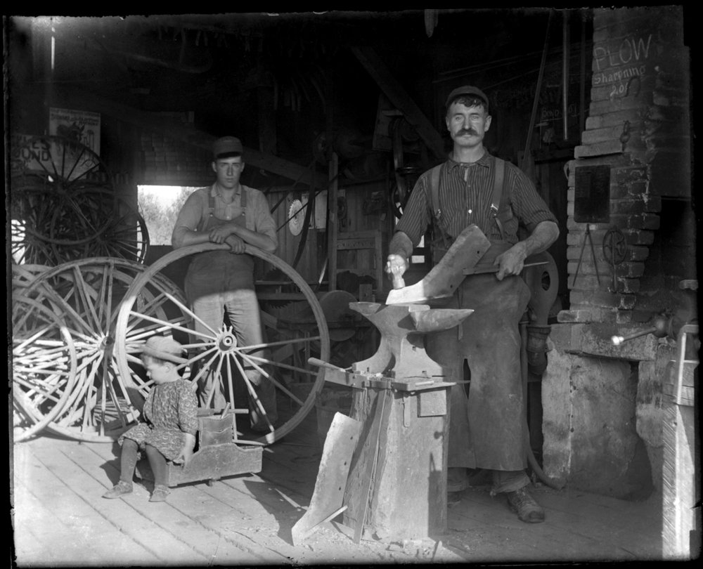 Blacksmith c.1900 from original 4x5 glass plate negative