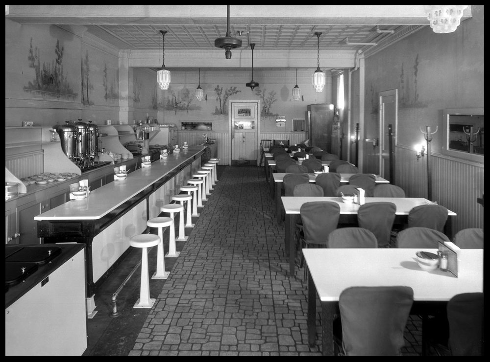Beautiful Vintage Diner Interior c.1928 from original 8x10 glass plate negative