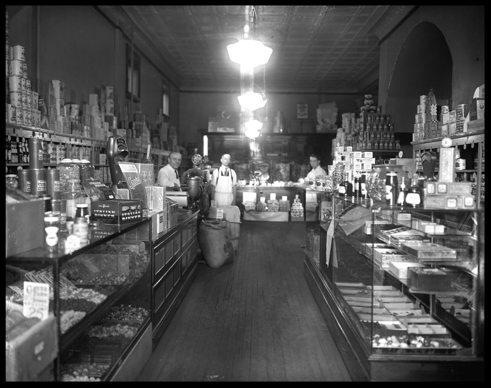 Dry Goods Store c.1920 from original 5x7 glass plate negative