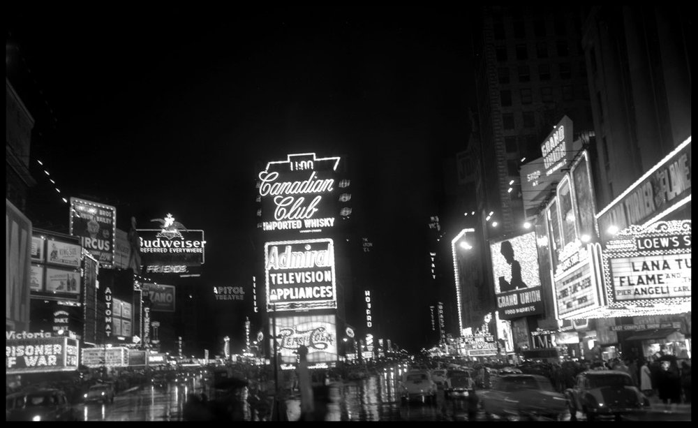 Times Square NYC 1954 from original 4x5 negative