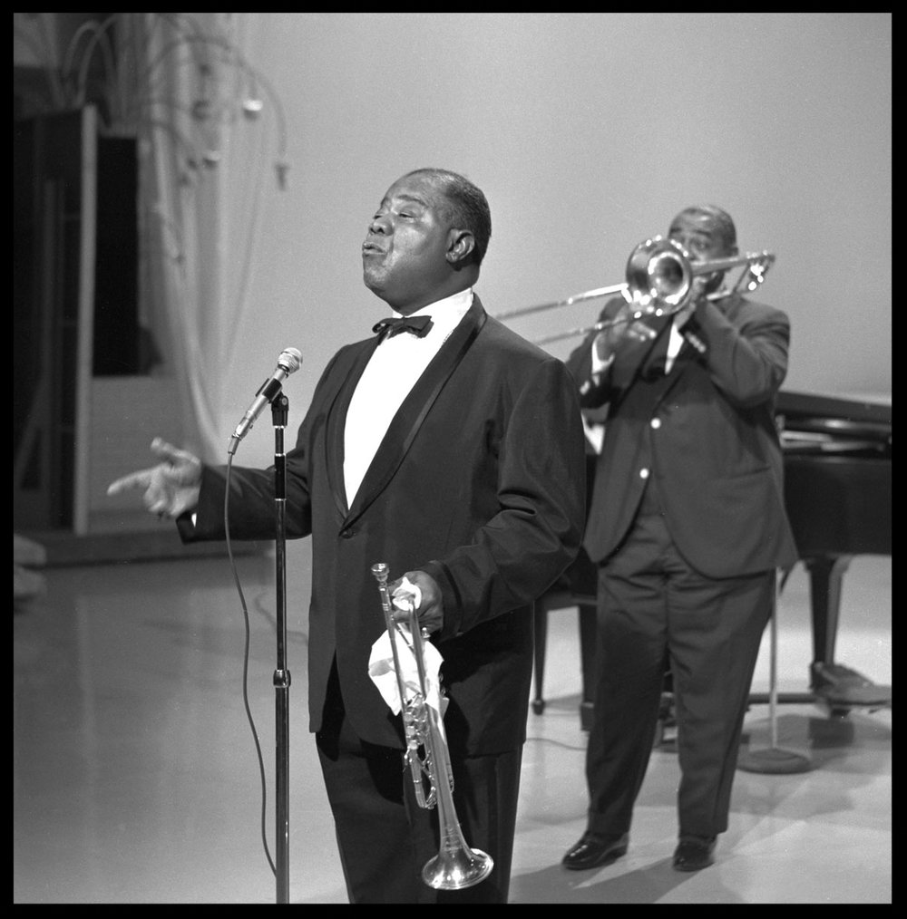 "Louis Armstrong "" Satchmo "" c.1957 from original 2.25 negative"